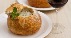 Sopa de Shiitake e Alho-poró no Pão - Presunto Vegetariano