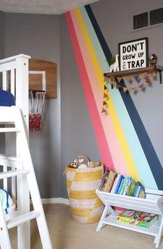 Boy Girl Shared Bedroom DIY Rainbow Wall Hazelwood Homes Boy And Girl Shared Bedroom, Big Girl Rooms, Boy Room, Bedroom Boys, Ikea Bedroom, Bedroom Furniture, Childrens Bedrooms Shared, Boy Bedrooms, Girl Bedroom Paint