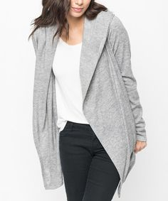 Another great find on #zulily! Heather Gray Pocket Hooded Open Cardigan…