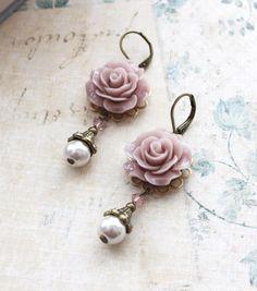 Mauve Rose Earrings.. Pearl Drop.. Swarovski Beads via Etsy.