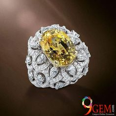 Luxurious Style Yellow sapphire gemstone with a floral design ring to grace your look