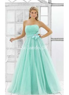Blå Stropløs Bowknot Ramme Ball kjole Gallakjoler