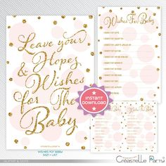 I like the wishes for baby. I can also put these in a scrap book afterwards. Gold glitter and pink polka dots Wishes for the baby, baby shower game printable - INSTANT DOWNLOAD