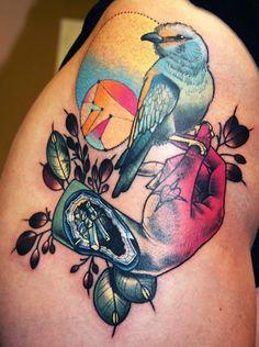 ARTIST PROFILE: CODY EICH bird hand tattoo neo traditional
