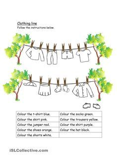 Clothing worksheet- colour and crossword - English ESL Worksheets English Lessons For Kids, English Worksheets For Kids, English Activities, Teaching English, Learn English, Ingles Kids, Clothes Worksheet, English Clothes, English Exercises