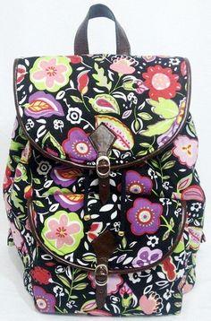 Moda feminina, Mochila Preta Floral para o dia a dia, escola, universidades, faculdades, passeio, viagens e muito mais...