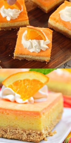 Creamsicle Cheesecake Bars The perfect flavor combination of sweet cream and tart orange – wrapped up in cheesecake with an animal cracker crust for an extra little something. Yes, they taste just as delicious as you're thinking! Orange Cheesecake Recipes, Orange Recipes, Cheesecake Bars, Pumpkin Cheesecake, Sweet Recipes, Cake Mix Recipes, Donut Recipes, Baking Recipes, Dessert Recipes