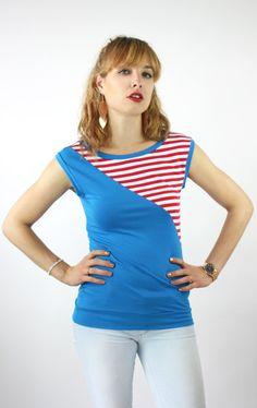 Tops - Shirt blau Streifen - ein Designerstück von JAQUEEN-handmade-streetwear-berlin bei DaWanda