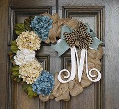 Burlap wreath Spring  wreath Monogram by theembellishedhome, $85.00