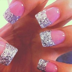 Nail Design Glitter French Tip. Doing this!!! ♡