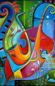 Cubism original oil painting Cubist Abstract Modern Art by MarlinaVera Music Painting, Art Music, Cubist Art, Abstract Art, Pintura Graffiti, Jazz Art, Art Moderne, Art Techniques, Art Lessons