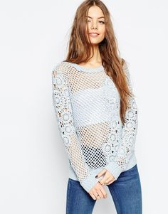 ASOS Hand Crochet JumperLightweight open knit Sheer design Round neckline Ribbed trims Lace embellishment Regular fit - true to size Machine wash 100% Cotton Model wears a UK 8/EU 36/US 4 Bandeau does not come with the garment