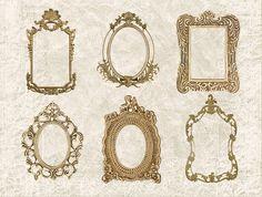 Digital Collage Sheet 6 Gold Ornate Vintage by DIYVintageArt, $2.75