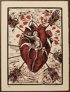 Colors, El Heart, Etching, Color Reduction, Anatomical Heart, Woodcut Prints