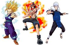My favorite 3 from Dbz, One Piece, and Naruto