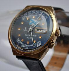 "Vintage Soviet mechanical wristwatch ""Raketa"" with 20 years calendar.Gold plated case."