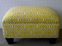 Yellow & White Maize Print Ottoman. $300.00, via Etsy.