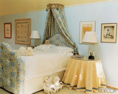 Cozy Traditional Light Turquoise Girls Room. Designed with an Upholstered Bed and Crown Canopy.