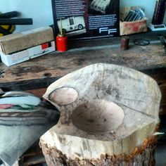 Metal Shaping over a stump