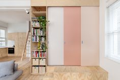 I keep being drawn to pale pink for the kitchen.... wouldn't have been an obvious choice. My cabinets are similar to the colour of the wood here.