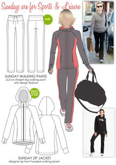 Sunday Walking Pant & Zip Jacket by Stylearc Patterns