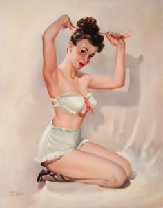 (TED) KUCK (American, d. Pin-Up Putting Her Hair Up, Brown & Bigelow calendar illustration Oil on - Available at 2014 May 7 Illustration Art. Vintage Pins, Retro Vintage, Retro Art, Earl Moran, Retro Pin Up, Calendar Girls, Voluptuous Women, Pin Up Art, Girl Cartoon