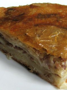 How to make Burek - Meat pie - a free cooking recipe from Learn how to cook for free: Finely chop onion and fry it in oil. In adding to mixed minced . Albanian Recipes, Bosnian Recipes, Croatian Recipes, Hungarian Recipes, Croatian Cuisine, My Favorite Food, Favorite Recipes, Macedonian Food, Recipes