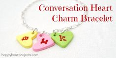 Polymer Clay Conversation Heart Charm Bracelet