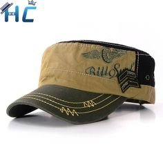 Stylish 2016 Fashion Unisex Flat Roof Military Hat for man Cadet Patrol  Bush Hat outdoor Baseball Field Caps men 652274969553