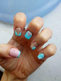 Summer nail design hybrid Polish bright French shimmer Beach design
