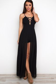 "They'll be green with envy! The A Night To Remember Maxi-Romper in Black is the ultimate occasion dress! Featuring a romper body with light, maxi skirt overlay. Cross detail at the bust and padded cups. Hidden back zipper. Adjustable straps. Pair with neutral heels and get ready to steal the night away! *Polyester*28"" Bust; 26"" Waist; 55"" Skirt Length; 1.5"" Short Inseam*Model is wearing a Small*Hand wash cold; Hang or Lin..."