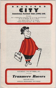 Vintage Football (soccer) Programme - Bradford City v Tranmere Rovers, 1970/71 season, by DakotabooVintage