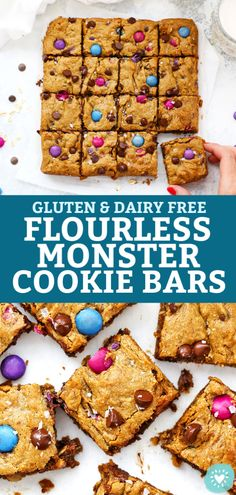 Flourless Monster Cookie Bars - Delicious peanut butter blondies studded with rolled oats, chocolate chips & chocolate candies. Chocolate Chip Cookies, Dairy Free Chocolate Chips, Chocolate Oatmeal, Healthy Cookies, Healthy Dessert Recipes, Real Food Recipes, Gluten Free Baking, Gluten Free Desserts, Dairy Free Recipes For Kids