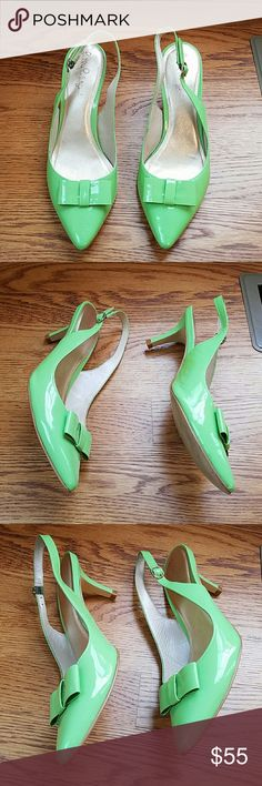 Lilly Pulitzer shoes 7M Lime green patent leather Lilly pulitzer *** is Lime green photographing darker*** patent leather slides sling backs. Good overall condition with minor issues only,marks on bow,sides of shoes as pictured,scrape on the back of heel.,a little wear on the sole,Mark on inside lining see .other listing for a couple more pics  Shoes are in decent shape. Leather upper man made sole Lilly Pulitzer Shoes Heels