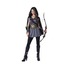 Adult Huntress Costume ($39) ❤ liked on Polyvore featuring costumes, outfits, sash belt, plus size halloween costumes, plus size womens costumes, womens plus costumes and adult plus size halloween costumes