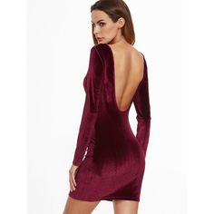 SheIn(sheinside) Burgundy Open Back Velvet Bodycon Dress ($12) ❤ liked on Polyvore featuring dresses, burgundy, bodycon dress, velvet dress, body con dress, white body con dress and velvet bodycon dress