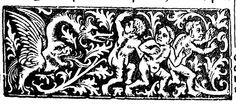 3 putti flee from 'gastrocephalic' dragon -- maniere criblee metalcut border panel found in numerous Parisian Books of Hours intended for the English market [i. Sarum Use] printed Book Of Hours, Parisian, Nerd, Dragon, English, Printed, Books, Design, Livros