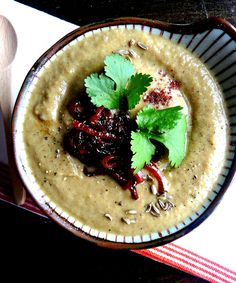 Smoky eggplant & cumin soup with sweet red onion topping. Vegan + grain, gluten, nut & sugar-free.