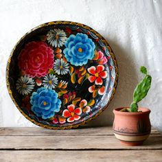 ;D ---❤️Mexican Batea Wooden Bowl Carved Wood Tray by blueflowervintage