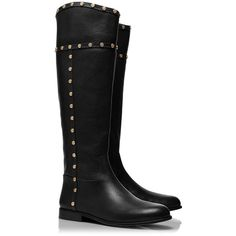 Tory Burch Mae Riding Boot (1.455 BRL) ❤ liked on Polyvore featuring shoes, boots, botas, sapatos, black, knee-high boots, studded knee high boots, black boots, knee high riding boots e knee high boots