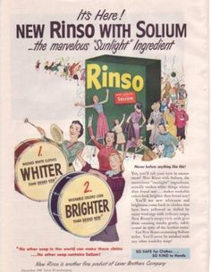 Vitage Laundry Detergent | 1947 Rinso Solium Laundry Detergent Sunlight Advertising | encore ...