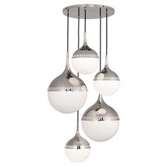 Jonathan Adler Rio Multi-Globe Chandelier design by Robert Abbey | polished nickel | $2,619.00