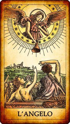 """Carta dei Tarocchi """"XX. L'ANGELO"""" L'angelo dei tarocchi non è altro che la raffigurazione del giudizio universale, con l'angelo dell'apocalisse che segna il momento finale in cui tutti saranno giudicati. Squillano le trombe del giudizio e i morti risorgono dalle tombe per affrontare il giudizio finale. SIGNIFICATO nei Tarocchi: L'angelo è una carta di rinnovamento, evidentemente una situazione va mutando.... MORE:--> http://www.tarocchigratuiti.it/tarocchi_carte/tarocchi_angelo.php"""