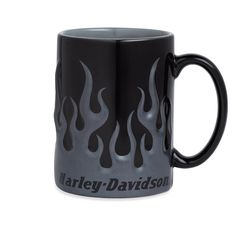 """This sculpted mug has a gray and black finish with """"Harley-Davidson®"""" printed near the bottom. Can hold up to 16oz. and is dishwasher safe. Ceramic."""
