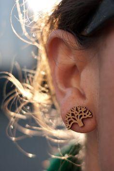 Oakland Tree Laser Cut Bamboo Stud Earrings by AntietamDesigns, $14.00