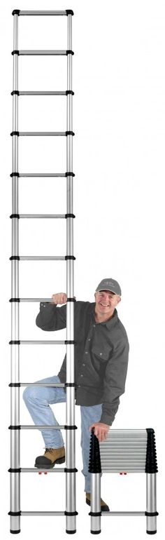 Telesteps extension ladder- these awesome telescoping ladders are so easy to use! They store ANYWHERE and you can put them in a car! I love 'em!