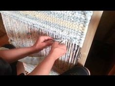 In this video iamauntmeem  shows you how to add a strip of material and how to finish a row and start a new one. Reviews in more detail the twining process.  Good close-up on starting a new row on the right, then repeats it..