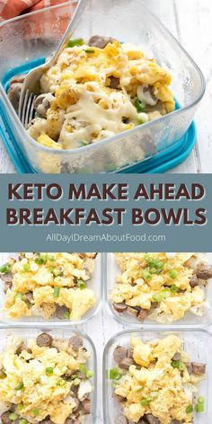 Make ahead keto breakfast bowls with sausage, eggs, and cheese on a bed of roasted cauliflower. Make your busy mornings easier with a hearty breakfast that's ready to go when you are! Low Carb Breakfast, Breakfast Bowls, Healthy Breakfast Recipes, Easy Healthy Recipes, Paleo Recipes, Low Carb Recipes, Easy Meals, Cooking Recipes, Breakfast Ideas