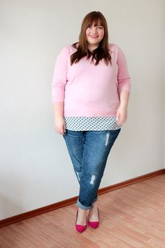 Upcycling + Plus Size Outfit: Boyfriend Jeans mit Pünktchen {DIY Your Closet}