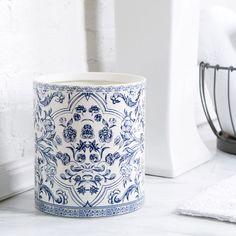 Birch Lane Porcelain Waste Basket, Blue & White